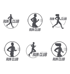 Set of running club logo templates vector