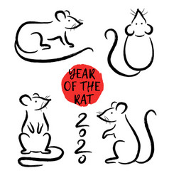 set with hand drawn rats symbol zodiac sign vector image