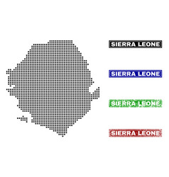 Sierra leone map in dot style with grunge name vector
