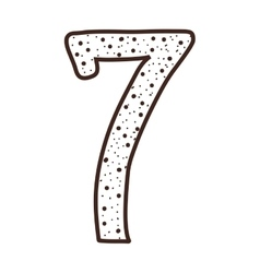 silhouette number seven design over dotted vector image