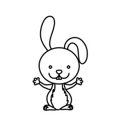 Silhouette picture cute rabbit animal vector