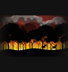 silhouette wildfire disaster landscape vector image