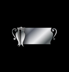 Silver cup of champions with space for text vector