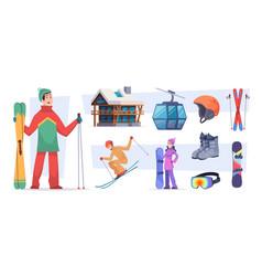ski resort christmas winter village snow vector image