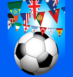 soccer football and world bunting background vector image