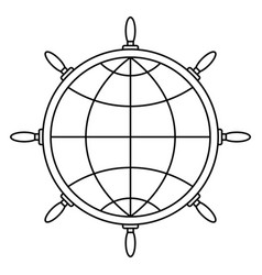 steering wheel and globe vector image