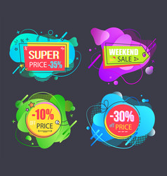 super sale set special price discount offer vector image