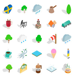 sweden icons set isometric style vector image