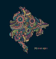 textured map montenegro hand drawn ethno vector image