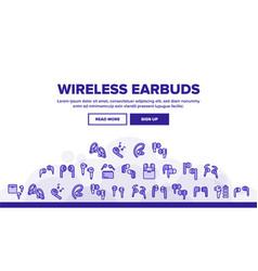Wireless earbuds stereo landing header vector
