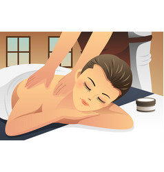 woman enjoying massage vector image