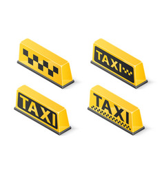 yellow roof taxi sign set isolated on white vector image