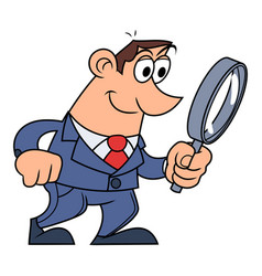 businessman is looking through the loupe vector image