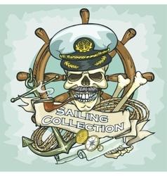 Captain skull logo design - Sailing Collection vector image vector image