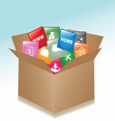 cardboard box web buttons vector image vector image