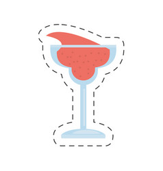Glass cup cocktail drink cut line vector