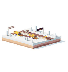 Low poly snowplows working on the highway vector