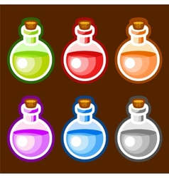 Round cartoon bottles liquids vector