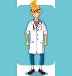 Smiling young doctor cartoon vector
