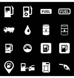 white gas station icon set vector image vector image