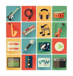 flat icons music vector image