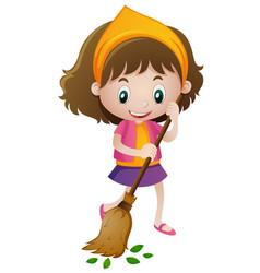 happy girl sweeping leaves vector image