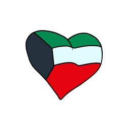 kuwait isolated heart flag on white background vector image