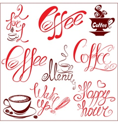 Set of coffee cups icons stylized sketch symbols vector image vector image