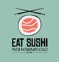 sushi restaurant flat style logo design for food vector image
