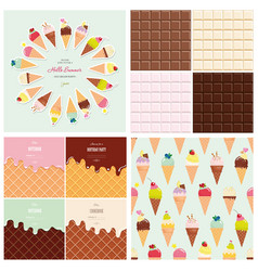 sweets big set ice cream cone seamless pattern vector image