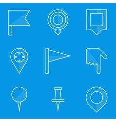 Blueprint icon set Push pin map vector image vector image