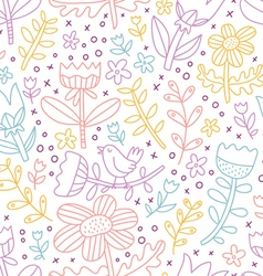 Colorful outline floral seamless pattern vector image