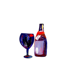 glass with a bottle of wine color vector image