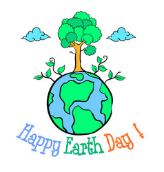 happy eart day with world and tree vector image vector image