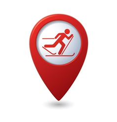 Map pointer with ski track icon vector image vector image