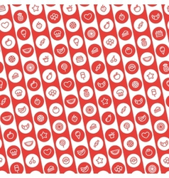 Red Striped Seamless Pattern with Dessert and vector image vector image