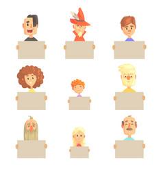 smiling cartoon men women and kids characters vector image vector image
