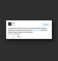 Social network post frame vector