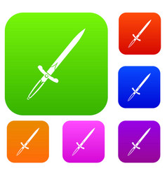 sword set color collection vector image vector image