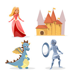 cartoon medieval fairy tale characters set vector image