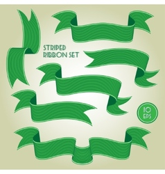 Green banners or ribbons set vector image