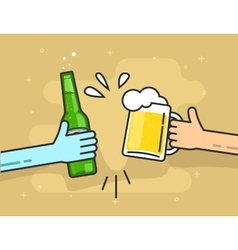 Hands beer glass and bottle toasting happy vector image