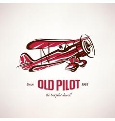 retro biplane vintage airplane symbol vector image vector image