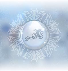 Snow globe with zodiac sign aquarius vector