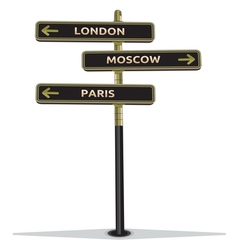 Street sign showing cities vector