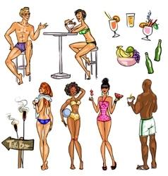 Tiki Bar Collection Hand drawn vector image vector image