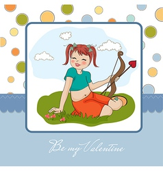 young pretty girl with cupid bow valentines day vector image vector image