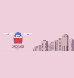 air drones carrying cardboard cityscape background vector image