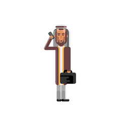 arabic man with suitcase talking on phone vector image