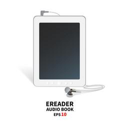 Audiobook with headphones vector